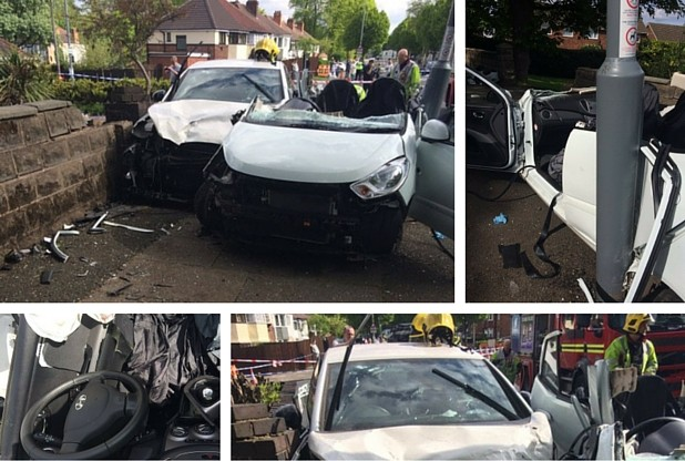 An 84-year-old woman has been left fighting for her life after a two-car crash in Court Lane, Erdington.